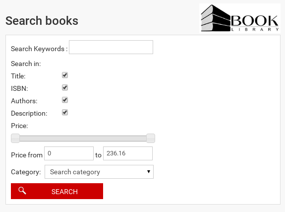 Advanced Search in Book Library Joomla