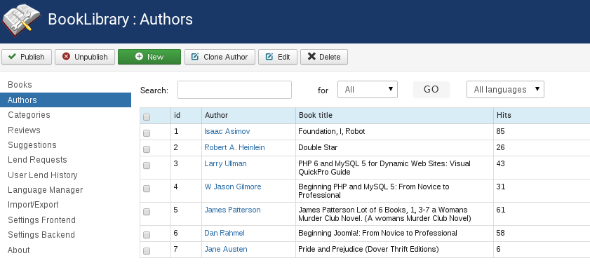 Authors menu in Joomla library extension