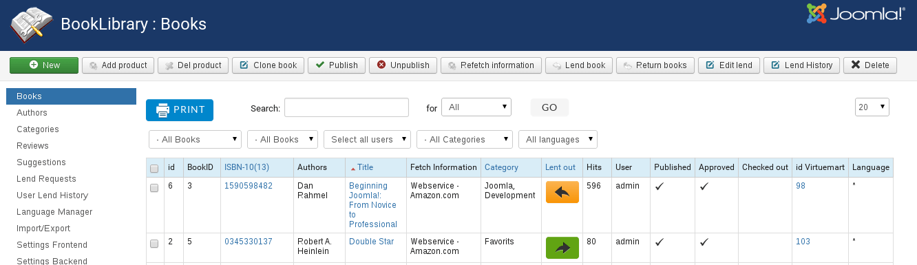 Books Manager in Book Library Joomla