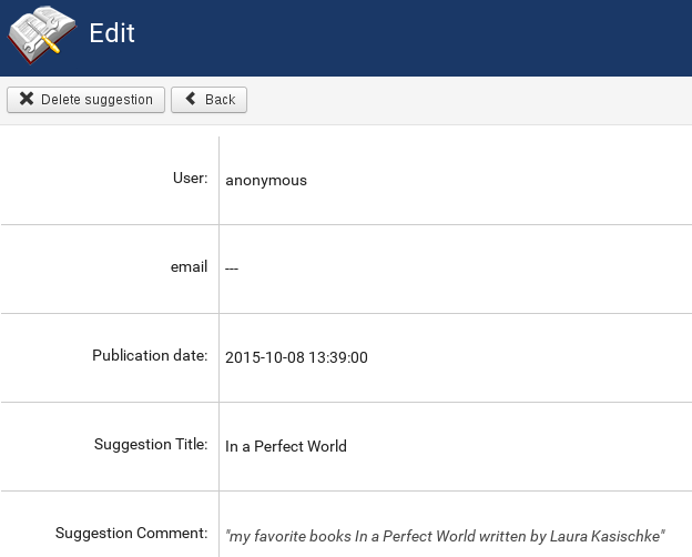 Details of the suggestion in joomla library management system