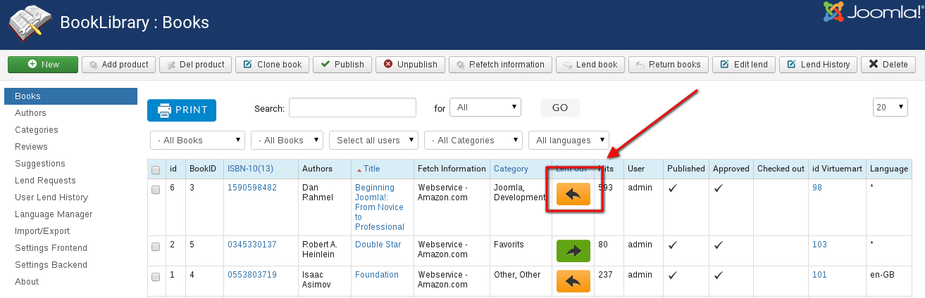 Book Availability Indicators in Joomla library website