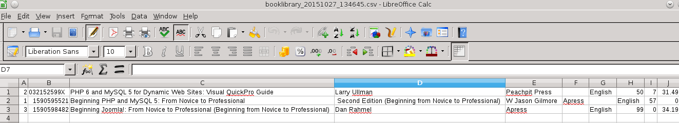 Result of Importing CSV file to Libre Office Calc in BookLibrary