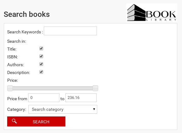 Search books in joomla  elibrary software