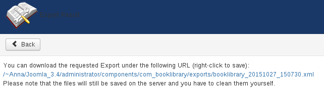Full XML Export Link in Book Library Joomla software