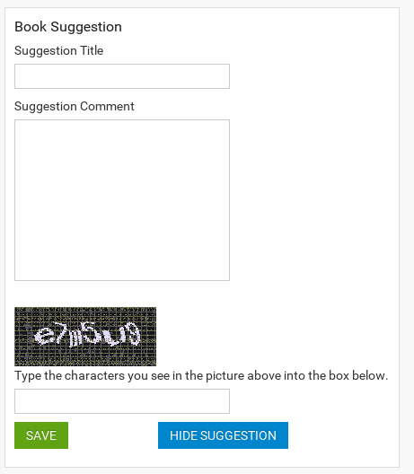Book Suggestion Form in Joomla ebook extension
