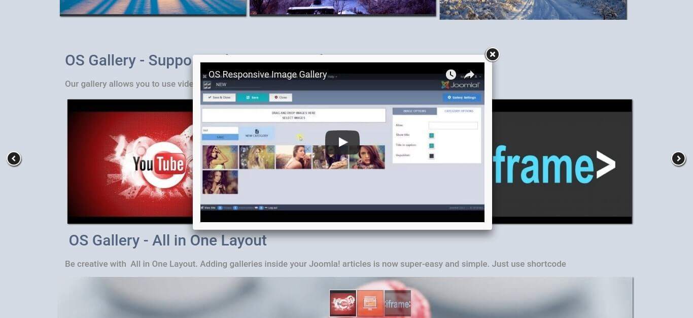 youtube video in Responsive Joomla Photo Gallery - Joomla Gallery component