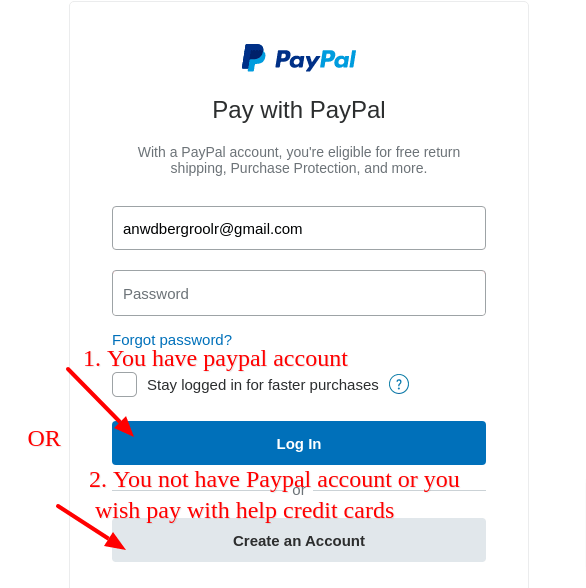 paypal login or pay with credit card