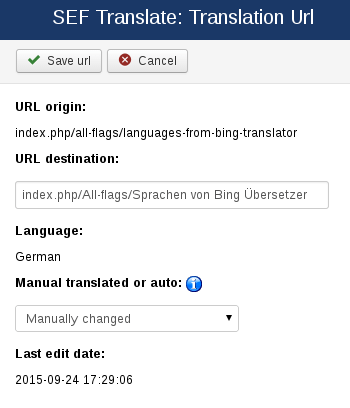 URL edition in SEF Translate, Joomla extension for automatic translations
