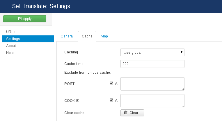 Cache settings of SEF Translate Joomla translation extension
