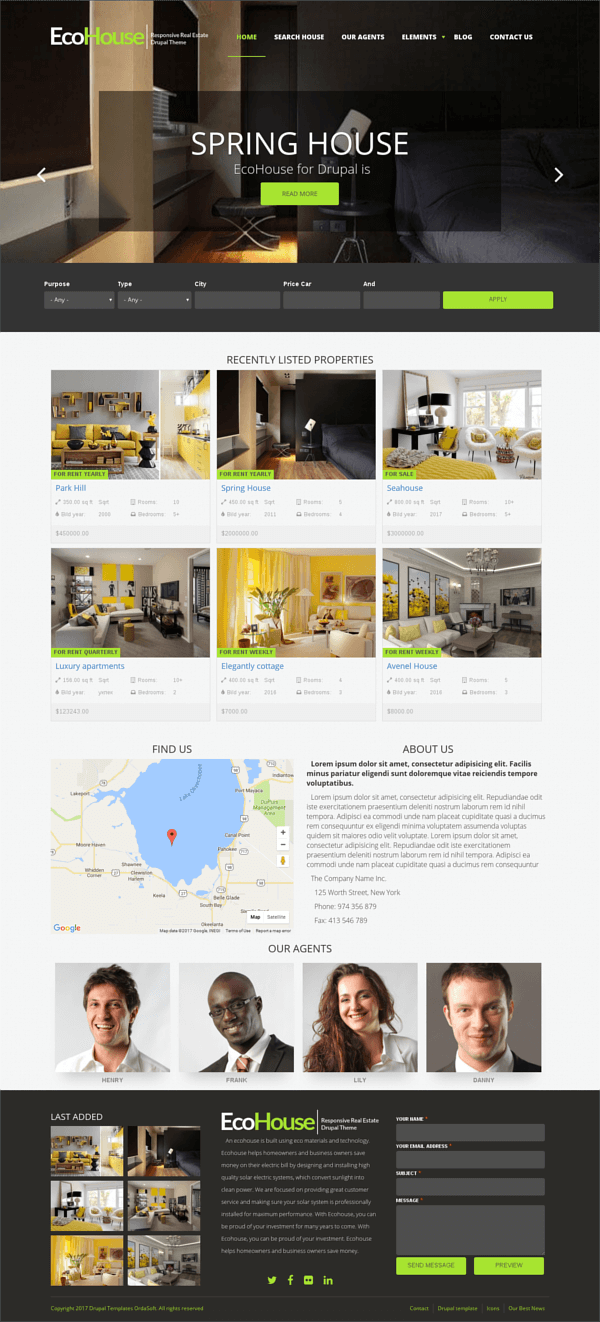 EcoHouse - Responsive Real Estate Drupal Theme, full screen