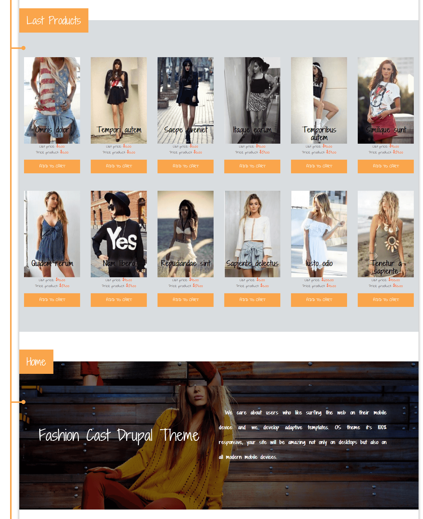 Shop of eCommerce Drupal Theme Fashion Cast