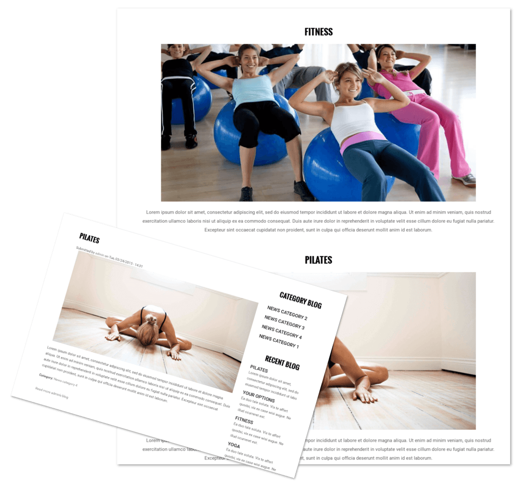 Blog pages of Fitness Club theme