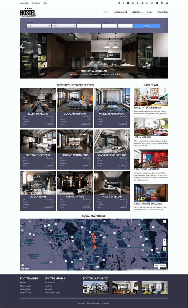 Hostel - Free Drupal Real Estate Theme, full screen