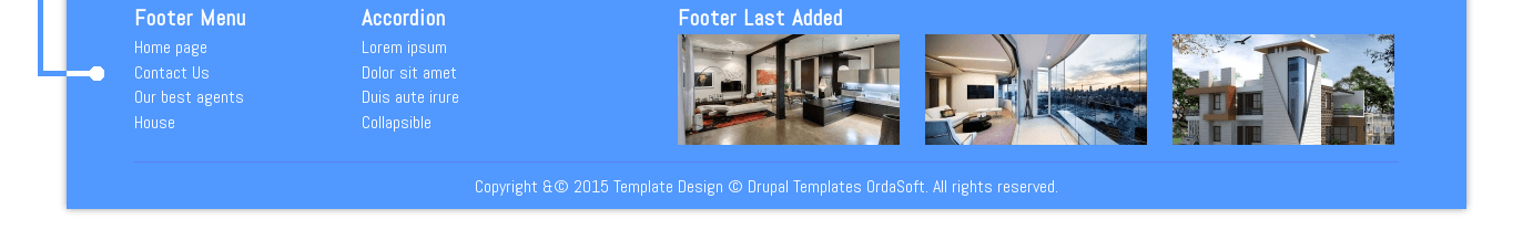 Footer of Hostel -  Free Drupal Real Estate Theme