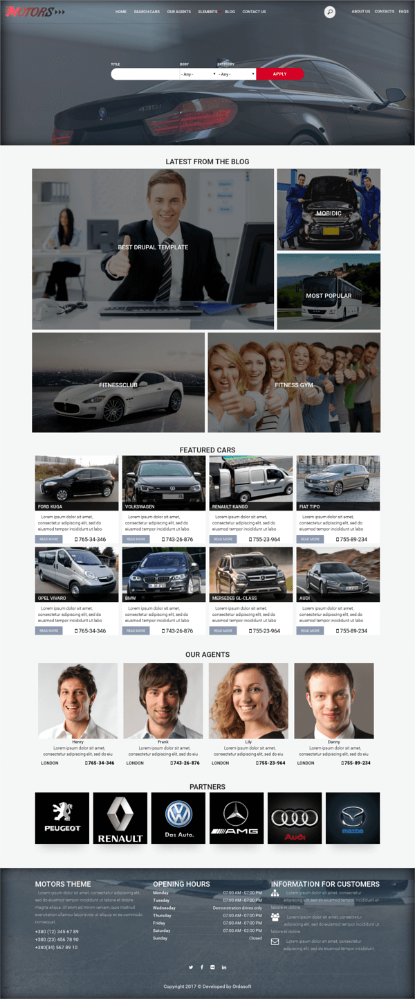 Car Sales - Drupal Car Dealer theme, full screen