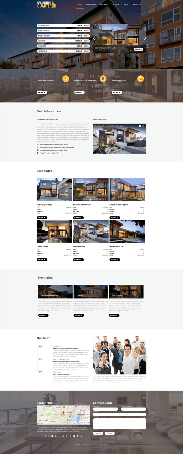 Residential Quarter - Drupal Real Estate theme, full screen
