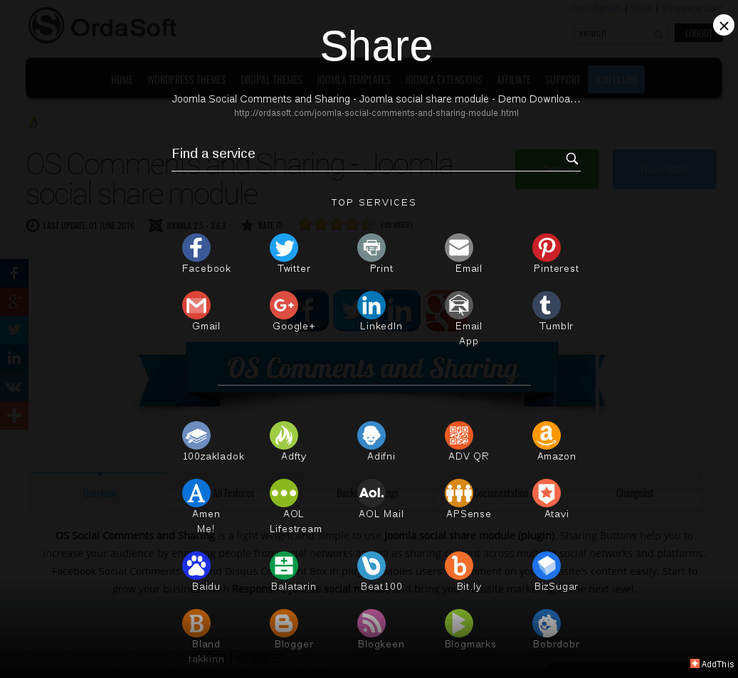 Add This social share button in social share buttons Joomla plugin
