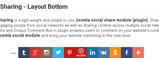 social share buttons Joomla plugin with Layout Bottom