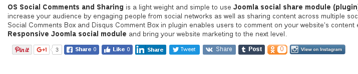 comment and social share joomla plugin with horizontal default layout