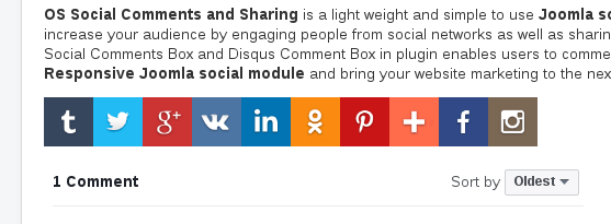 Horizontal Layout in Joomla Social Comment and Sharing-Social Share Joomla module