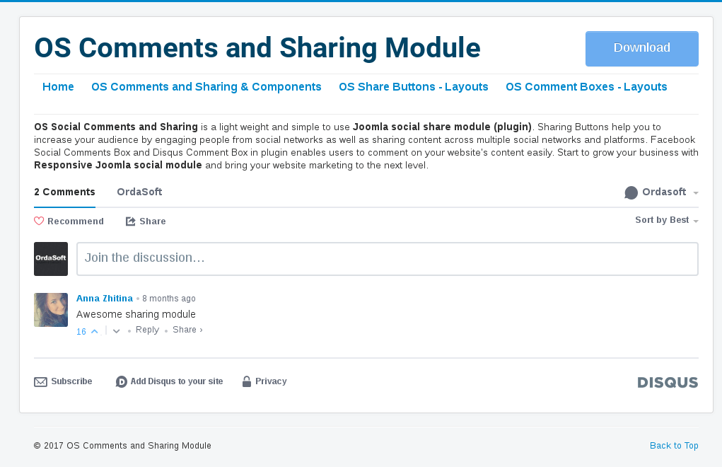 disqus comment box in Social Comment and Sharing-Comment Joomla Plugin
