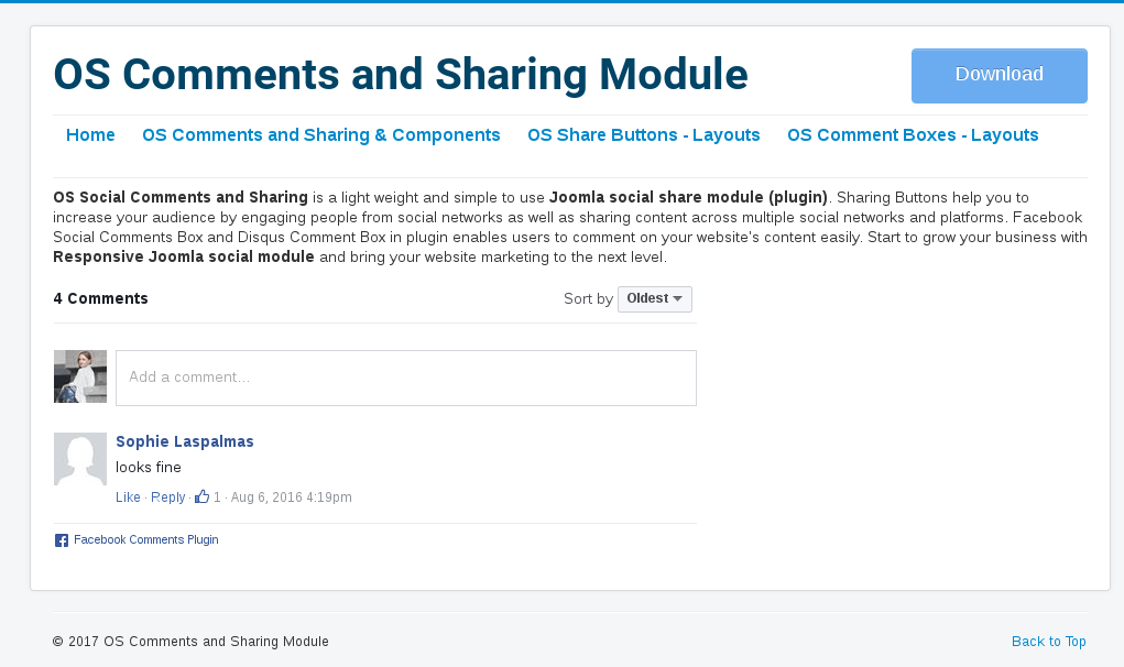 facebook comment box in Social Comment and Sharing-Comment Joomla Module