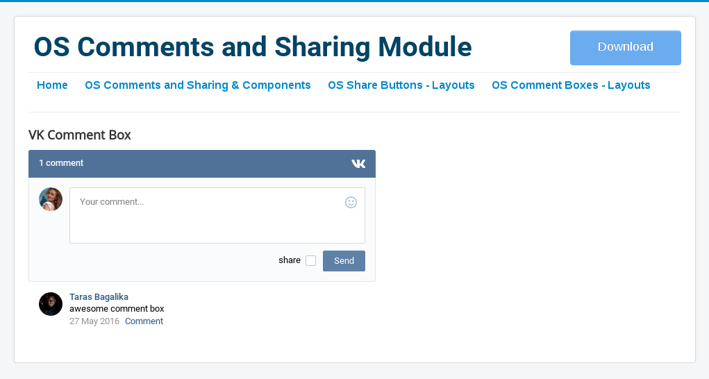 Vkontakte comment box in Social Comment and Sharing-Comment Joomla Module