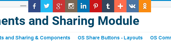 social share Joomla module with top layout