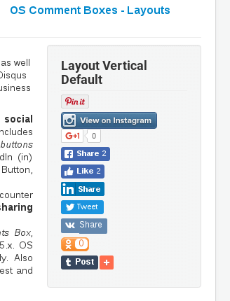 Vertical Default Layout in Social Share Joomla module
