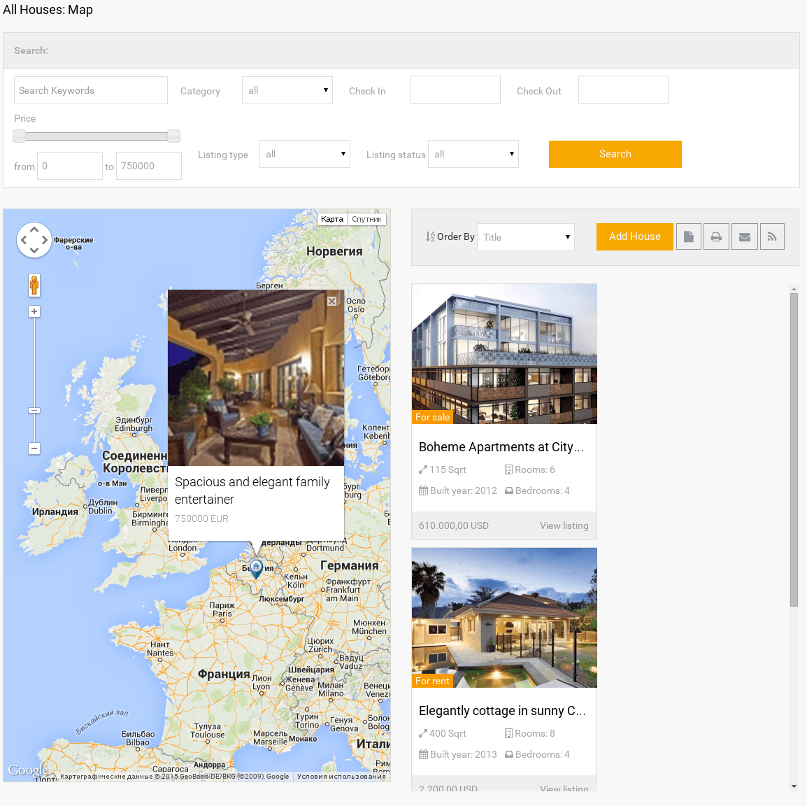 All Houses Map Frontend View in Real Estate manager, real estate listing software