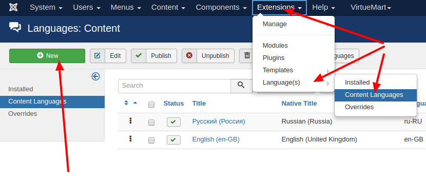 Install new content language to Joomla