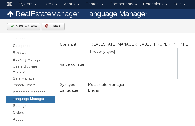 Language Manager in Real Estate manager, property management joomla listing software, Constant value before change