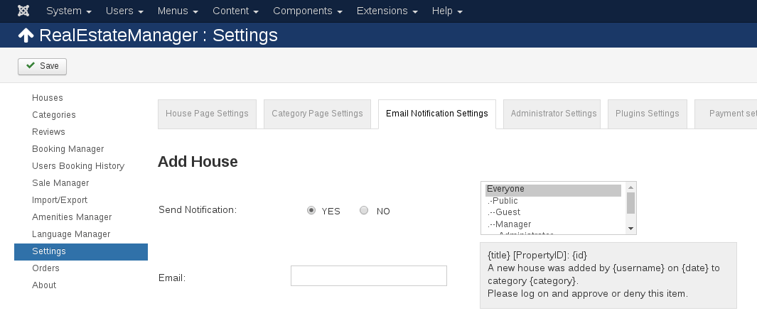 Settings     in Real Estate manager, joomla real estate extension
