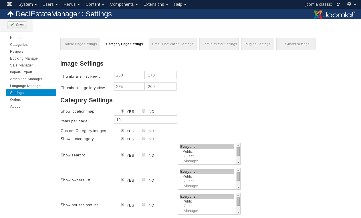 Category Page Settings in real estate listing software
