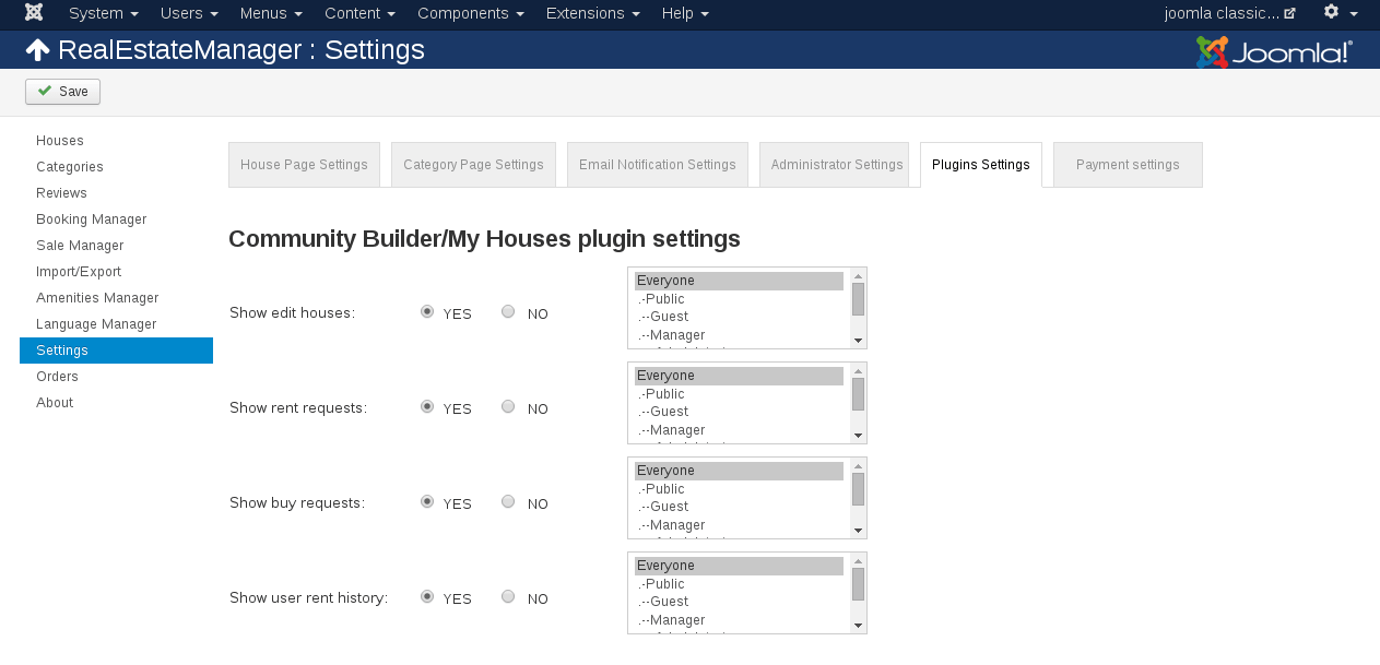 Plugin settings of Real Estate Manager