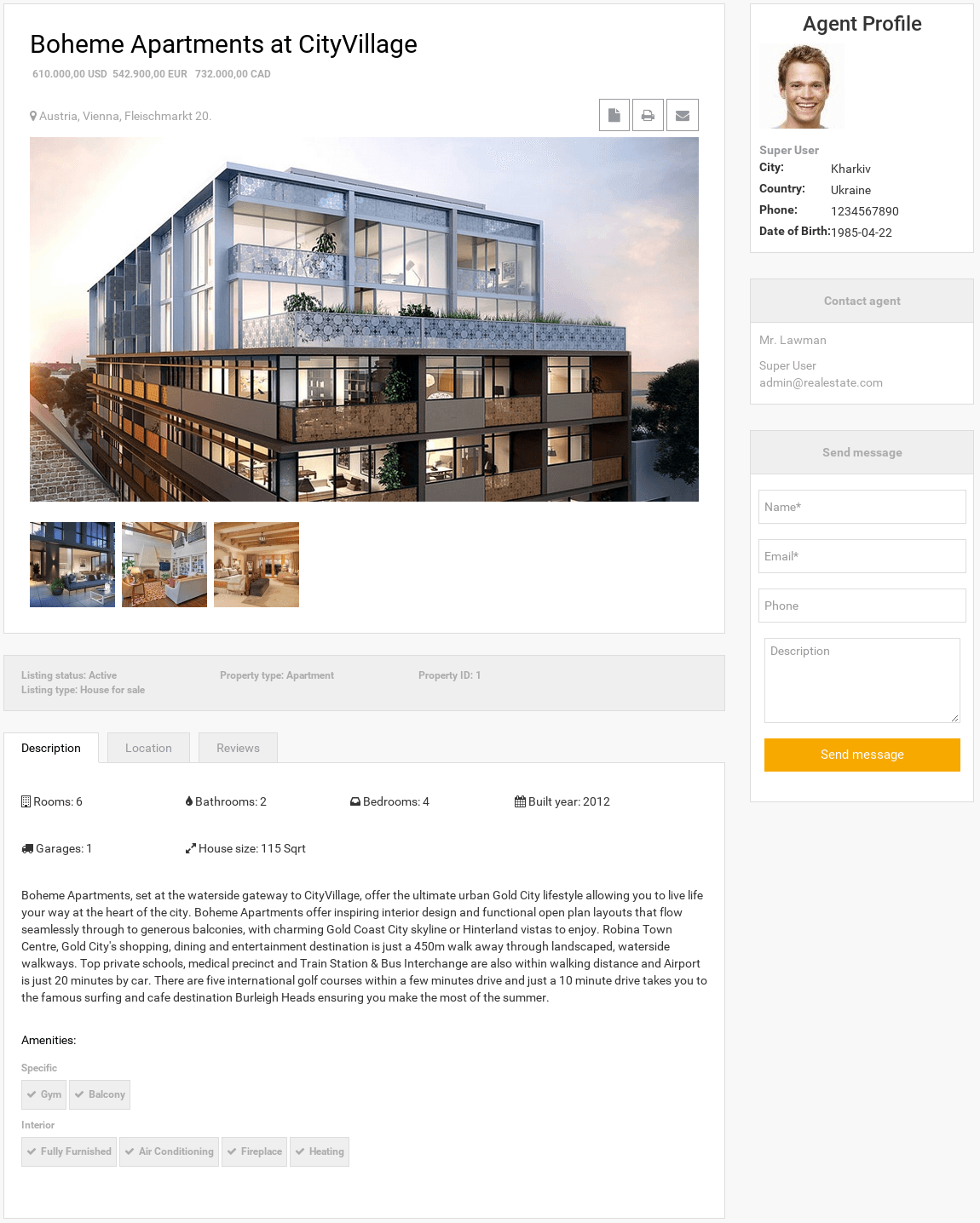 Frontend House Page in Real Estate Manager, real estate website builder