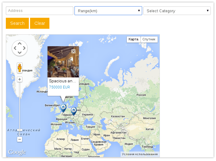 Joomla real estate module Location Map for Joomla real estate booking software