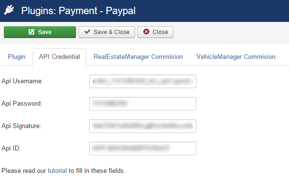 Paypal plugin API credentials in real estate portal software