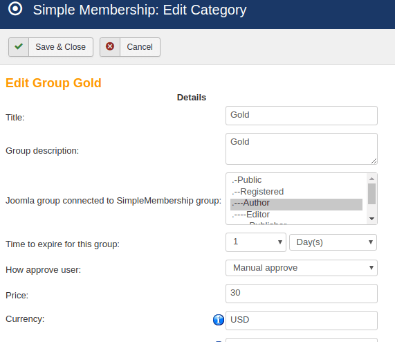 joomla membership user group edit