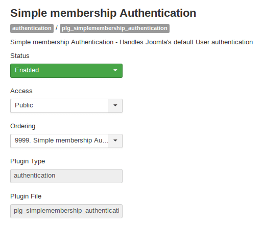 Authentication plugin for Simple Membership