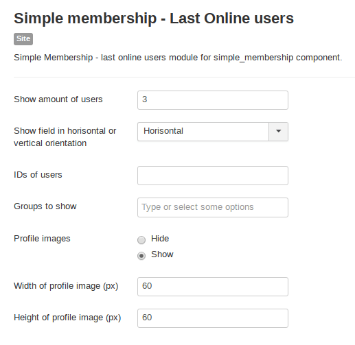 Module last online users for Simple Membership website software