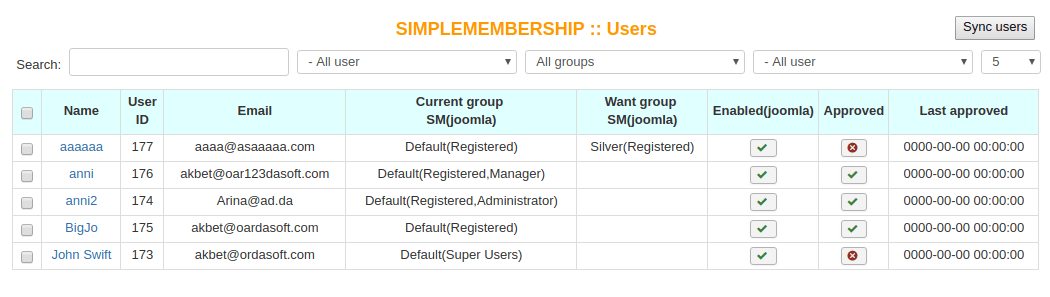 Simple Membership, users manager