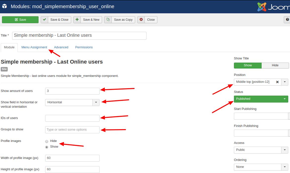 simplemembership last online users module settings