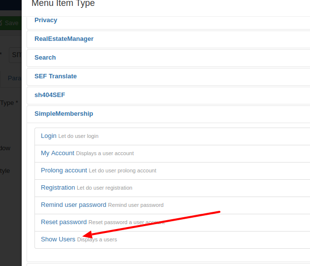 simplemembership show users menu