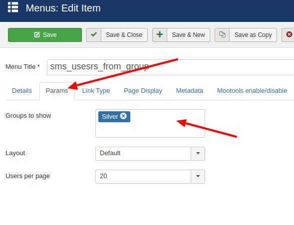 simplemembership show users menu params