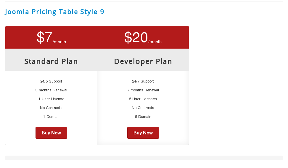 pricing table html