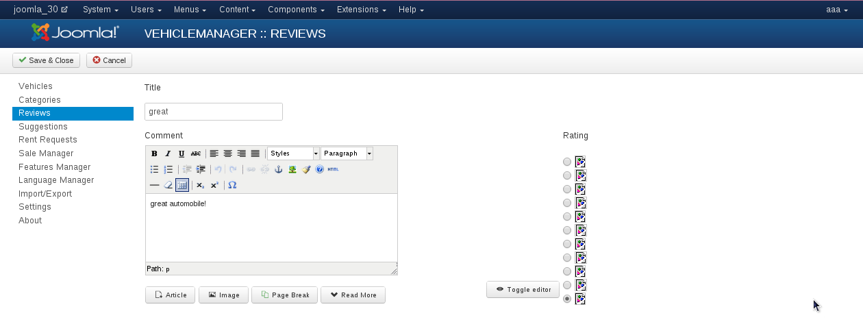Edit review in Vehicle Manager - software for create vehicle website