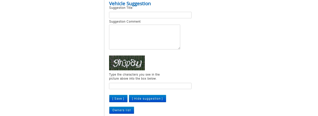 Frontend Vehicle Suggestion form