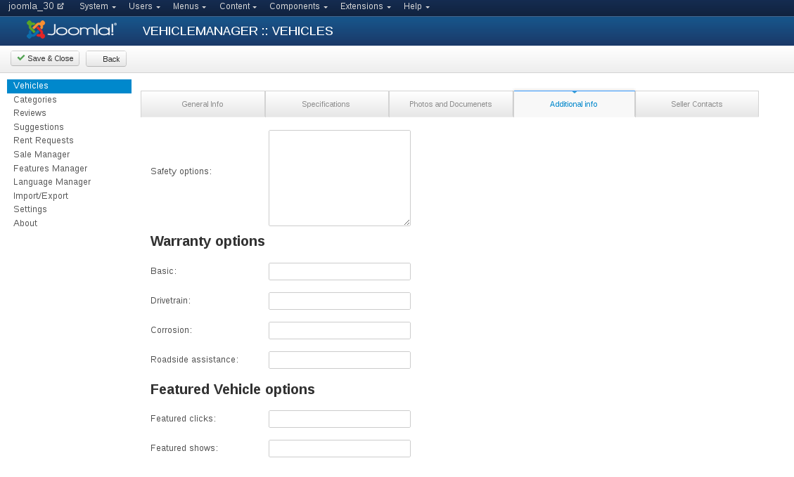 Vehicle Manager:Vehicles