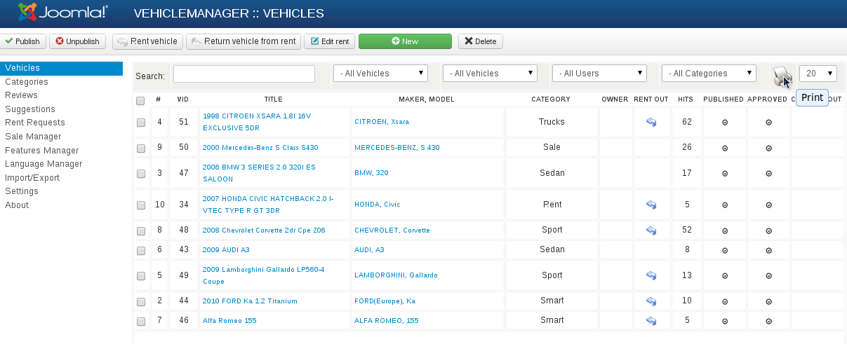 print reports in section Manager of Vehicles in Vehicle Manager - Joomla automotive extension